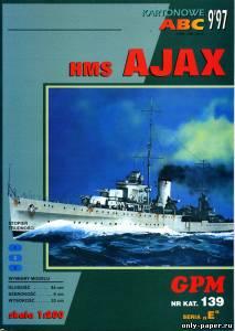 Модель крейсера HMS Ajaxиз бумаги/картона