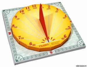 Модель солнечных часов из бумаги/картона