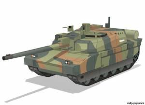 Модель танка Leclerc из бумаги/картона