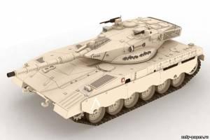 Модель танка Merkava Mk2 из бумаги/картона