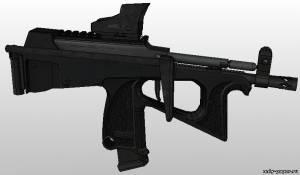 Модель пистолета-пулемета ПП-2000 из бумаги/картона