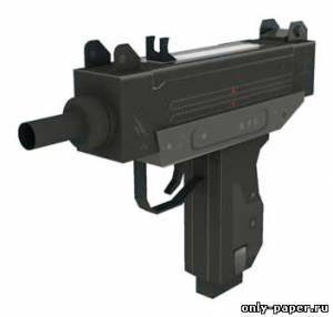 Модель пистолета-пулемета Узи из бумаги/картона