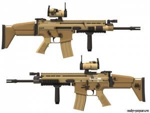 Модель автомата FN Herstal SCAR Light Mk.16 из бумаги/картона