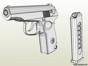 Бумажная модель пистолета Макарова (ПМ)