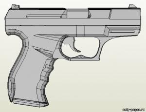 Модель пистолета Walther P99 из бумаги/картона