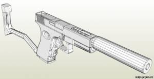 Бумажная модель пистолета Glock 18 с глушителем